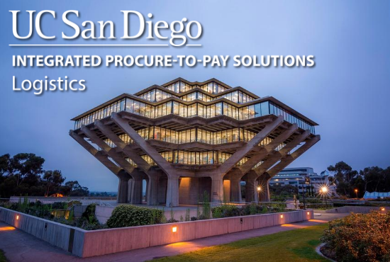 Geisel Library with UC San Diego Integrated Procure to Pay Solutions Logistics logo overlay